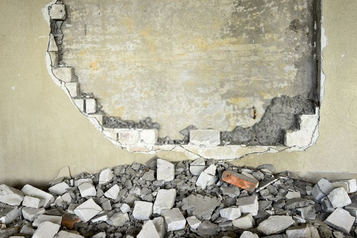 atramines sienos griovimas nugriovimas